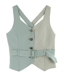 Bi-Collar Vest with Belt(Green-Free)