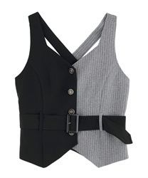 Bi-Collar Vest with Belt(Black-Free)