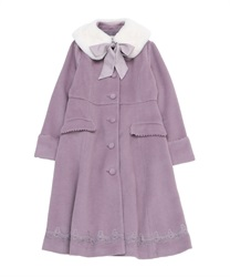 Coat with fur tippet(Lavender-Free)