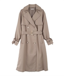 Pleated Lace Trench Coat(Beige-M)