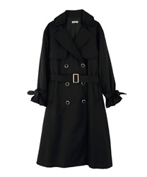 Pleated Lace Trench Coat(Black-M)
