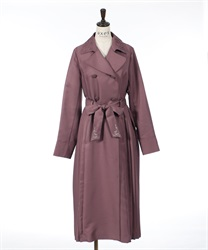 Side pleated long coat(Pale pink-M)