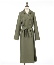 Side pleated long coat(Khaki-M)