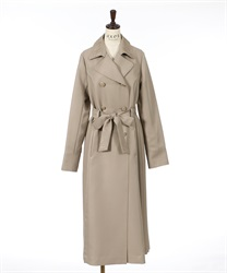 Side pleated long coat(Beige-M)