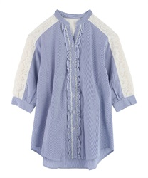 Tunic with yoke lace(Navy-Free)
