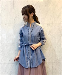 Tunic with yoke lace(Indigo-Free)