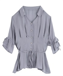 【2Buy20%OFF】2 Ways Blouse(Saxe blue-Free)
