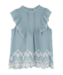 Hem Embroidered Sleeveless Blouse(Saxe blue-Free)