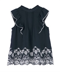 Hem Embroidered Sleeveless Blouse(Navy-Free)
