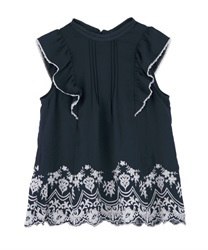 Hem Embroidered Sleeveless Blouse