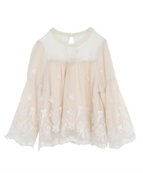 Ribbon bouquet lacy blouse(Ecru-Free)