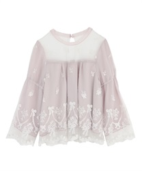 Ribbon bouquet lacy blouse(Pale pink-Free)