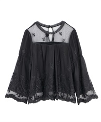 Ribbon bouquet lacy blouse(Black-Free)