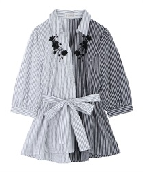 Skipper Shirt Pullover with Ribbons(Black-Free)