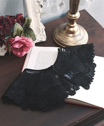 Organdie embroidery collar(Black-M)