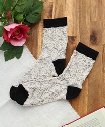 Rose pattern socks(White-M)