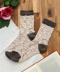 Rose pattern socks(Mocha-M)