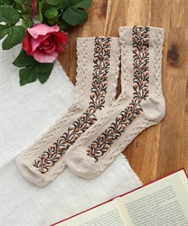 Botanical pattern socks(Ecru-M)