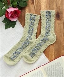Botanical pattern socks(Green-M)