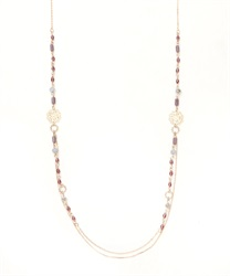 Long Necklace with Beads(Purple-M)