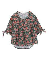 Tulip pattern pullover with ribbon on cuffs [Online limited product](Green-Free)