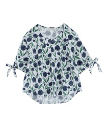 Tulip pattern pullover with ribbon on cuffs [Online limited product]
