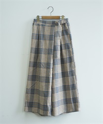 Wool check-patterned wrap pant