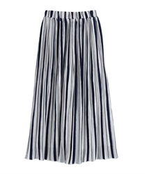 Striped Pleated Wide PT(Navy-Free)