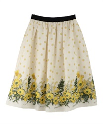 Floral Organdy skirt(Yellow-Free)