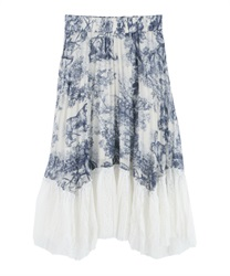 Hem lace switching pleated skirt [Only at Online Shop](Blue-Free)