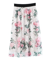 Floral Print Lace Skirt(Pale pink-Free)