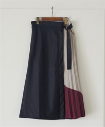 Leather×color scheme pleated flare skirt(Red-Free)