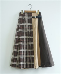 Wool check color scheme skirt(Brown-Free)