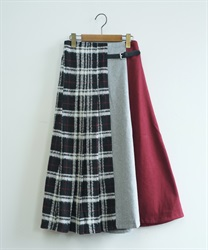 Wool check color scheme skirt(Black-Free)