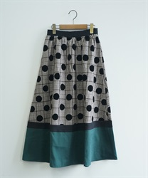 Flocky dot color scheme skirt(Brown-Free)