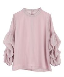 Chiffon tack sleeve pullover(Pale pink-Free)