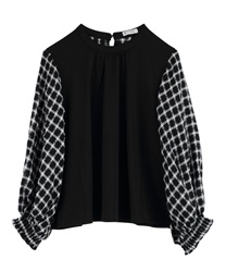Watermark check pattern switching pullover(Black-Free)