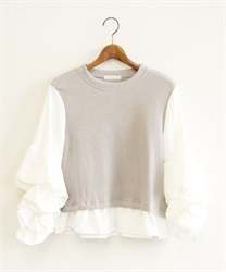 Design sleeve pullover(Grey-Free)