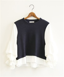 Design sleeve pullover(Navy-Free)