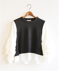 Design sleeve pullover(Black-Free)