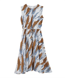 Painted Pattern Drawstring Maxi Dress(Blue-Free)