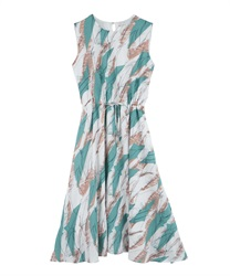Painted Pattern Drawstring Maxi Dress(Green-Free)