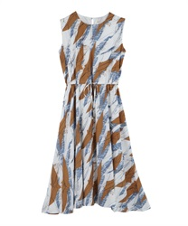 Painted Pattern Drawstring Maxi Dress
