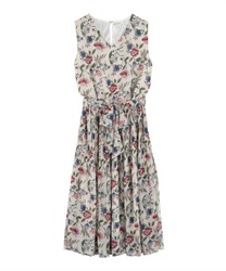 Flower Print Chiffon Pleated Dress(Ecru-Free)