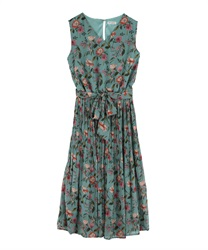 Flower Print Chiffon Pleated Dress(Blue-Free)