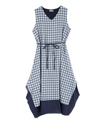 Dotted patterned hem layered dress(Blue-Free)