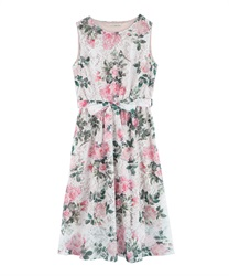 Floral print lace dress(Pale pink-Free)