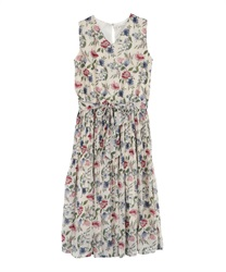 Floral Pattern Chiffon Pleated Dress(Ecru-Free)