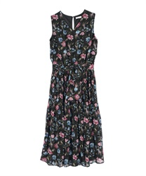Floral Pattern Chiffon Pleated Dress(Black-Free)