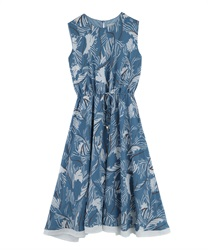 Leaf Pattern Dropped Dress(Blue-Free)